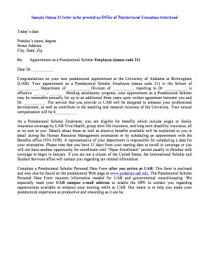 Status 21 Employee Appointment Letter - University of Alabama at ... - uab