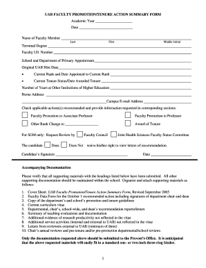 uab faculty promotiontenure recommendation form uab