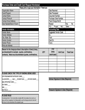 Purchase Order and Credit Card Request Worksheet