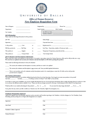 Fillable online udallas new employee requisition form udallas fax rate this form altavistaventures Images