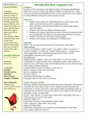 Lab Hawaiian Bird Beak Adaptation - Fill Online, Printable ...