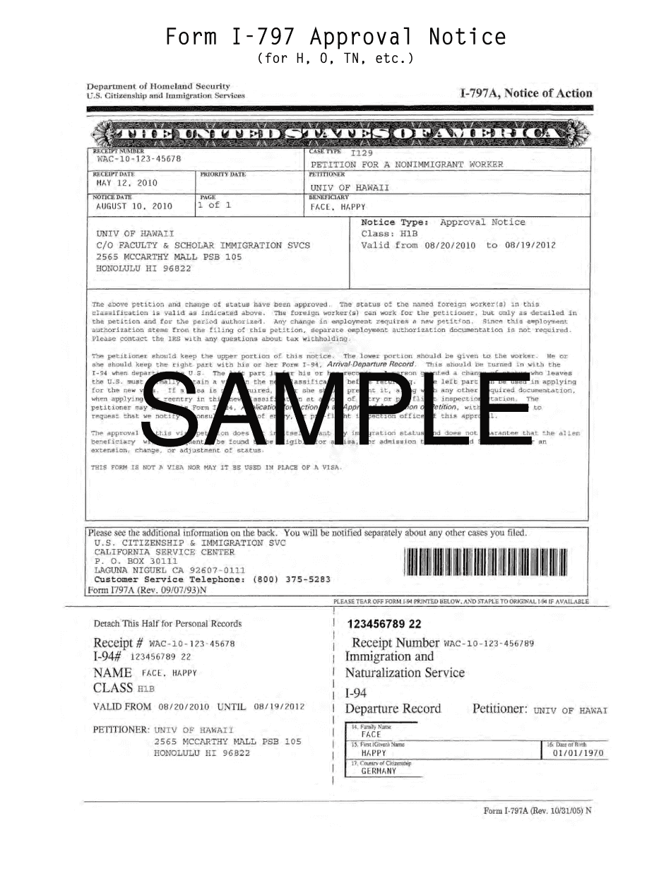 I-797 Form - Notice of Action, Download Sample in PDF