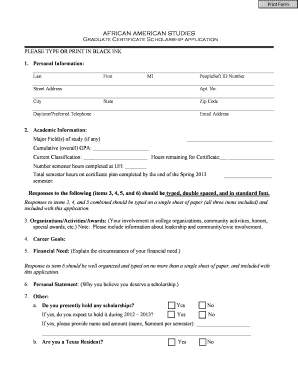 AAS Graduate Certificate Scholarship Form (PDF) - University of ... - uh