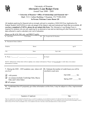 alternative loan budget form university of houston