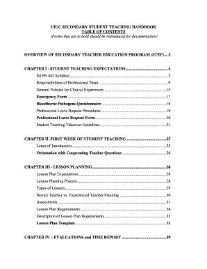 bloodborne pathogens policy template - student teaching handbook college of education