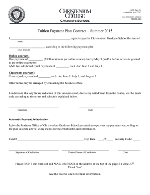 Payment plan contract forms and templates fillable for Tuition contract template