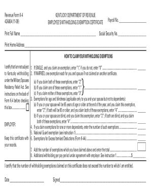 Kentucky Department Of Revenue Form K 4 - Fill Online, Printable ...