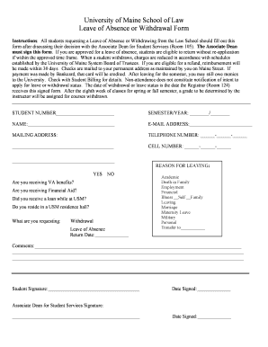 Student Leave Of Absence Form Umaine - Fill Online, Printable ...