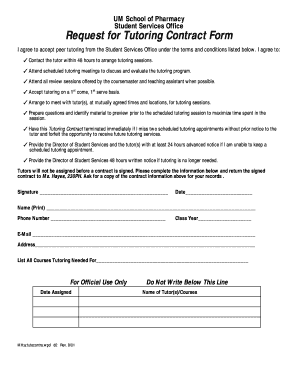 Tutoring Contract Agreement Form Fill Online Printable