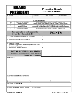 BOARD MEMBER APPRAISAL WORKSHEET - The Citadel - citadel