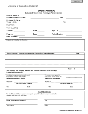 uml expense forms