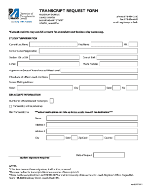 Awesome Umass Lowell Transcript Request. Rate This Form