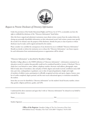 Request to Prevent Disclosure of Directory ... - Brooklyn College - brooklyn cuny