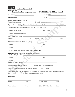 sample educational practicum learning agreement form