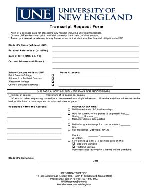 une transcript online form