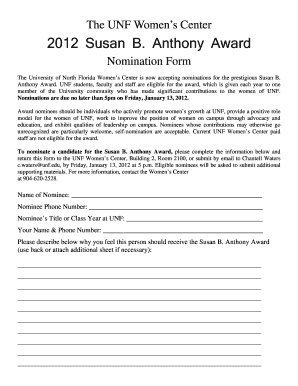 Nomination Form Template Word - Fill Online, Printable, Fillable ...
