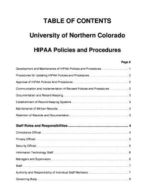 table of contents university of northern colorado hipaa policies and procedures form