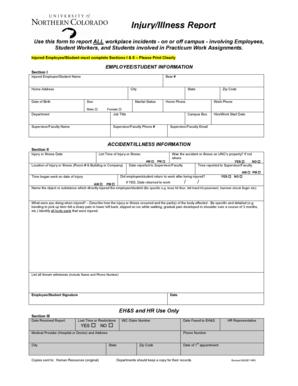 Unco Work Order >> Fillable Online unco Injury/Illness Report - unco Fax ...
