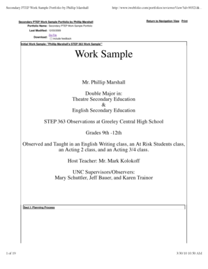 Secondary PTEP Work Sample Portfolio by Phillip Marshall - unco
