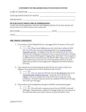 Travel Pre-Approval Form - University of Oklahoma Health Sciences ... - ouhsc