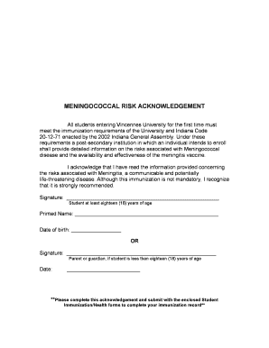 Risk Acknowledgement Form - Fill Online, Printable, Fillable ...
