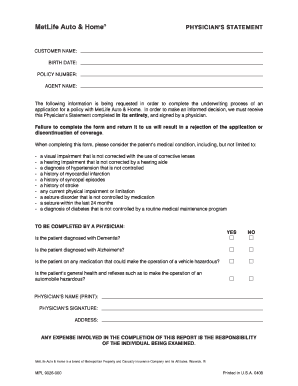 Fillable Online Met Physician Statement Form Fax Email Print ...