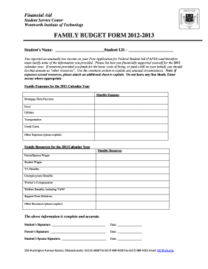 fillable online wit family budget form 2012 2013 wentworth
