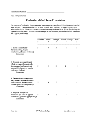 presentation evaluation form