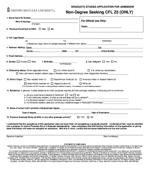 wku non degree seeking graduate application western