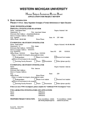 Fillable Online wmich IRB Application Form - Western Michigan ...
