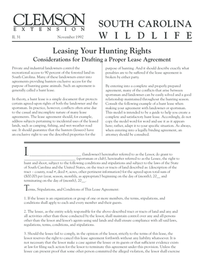 Hunting land lease agreement forms and templates fillable leasing your hunting rights clemson university clemson platinumwayz