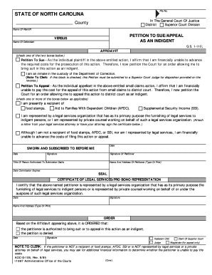 Petition To Sue/Appeal As An Indigent - Forms Fill Online