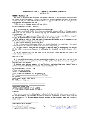 Fillable Online Statutory Will, MCL 700.2519 Fax Email Print ...