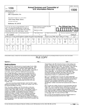 form 1096 fillable Templates - Fillable & Printable Samples for ...