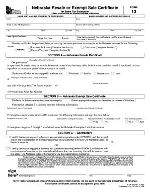 Fillable Online 13 Nebraska Resale or Exempt Sale Certificate ...