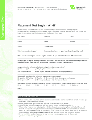 Ambitious image within esl assessment test printable