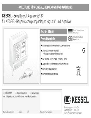 Fillable Online kessel-schweiz KESSEL-Schaltger t Aqatronic S f r ...