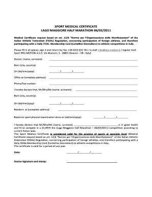 Sport Medical Certificate - Fill Online, Printable, Fillable ...