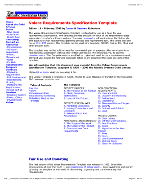 volere requirements specification template free fill