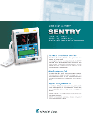 bionics sentry vital sign monitor pdf form