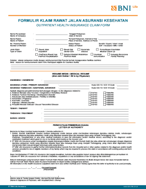 form resume medis bni life fill online printable fillable