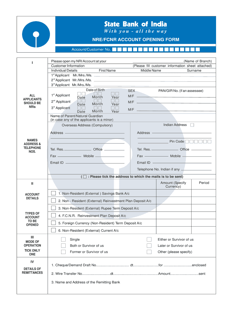 saving bank account opening form for sbi