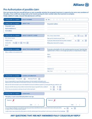 Petplan Pre Authorisation Form Uk - Fill Online, Printable ...