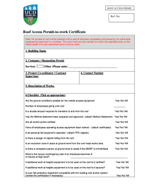 Fill. Fillable Ucd Roof Access Permit ...