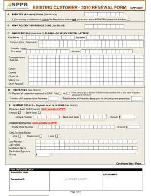 Existing customer - 2010 renewal form nppr10r - Mayo County Council