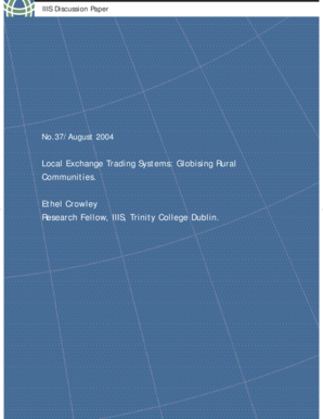 IIIS Discussion Paper No. 37 Local Exchange Trading Systems