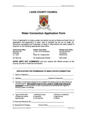 Application Form For Water Connection - Fill Online