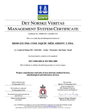 DET NORSKE VERITAS MANAGEMENT SYSTEM CERTIFICATE Certificate