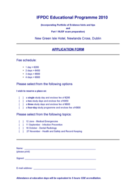 Application form for Educational Programme 2010 - draft 2 - IFPDC