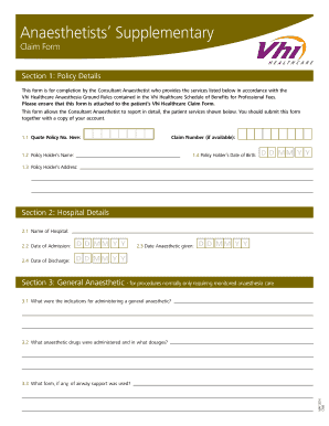 Vhi Supplemantry Anaesthesia Claim Form - Fill Online, Printable ...